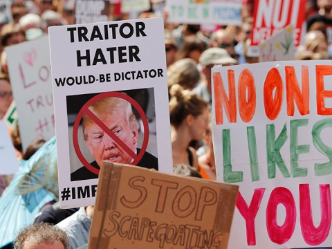 Este viernes hay múltiples manifestaciones Anti-Trump en Londres por la visita del presidente de EU (Foto: Reuters)