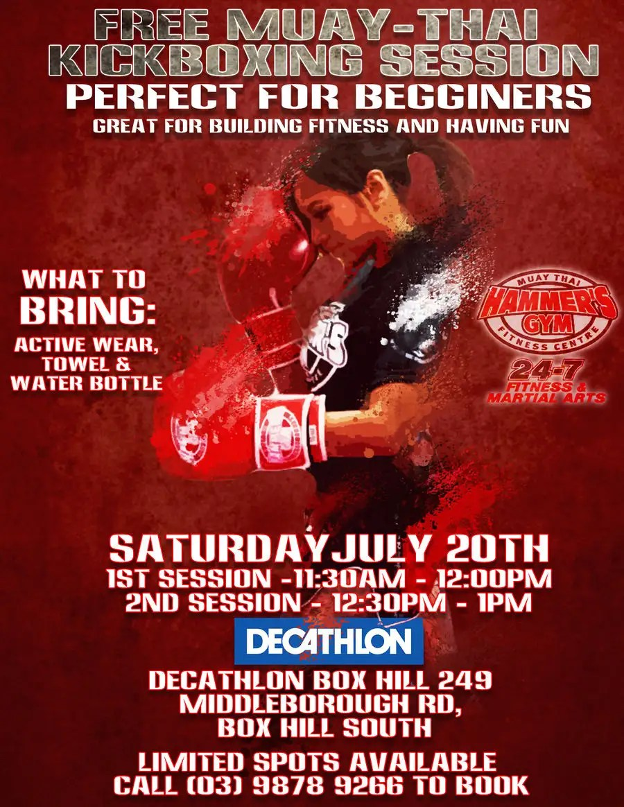 poster for muay thai fitness event