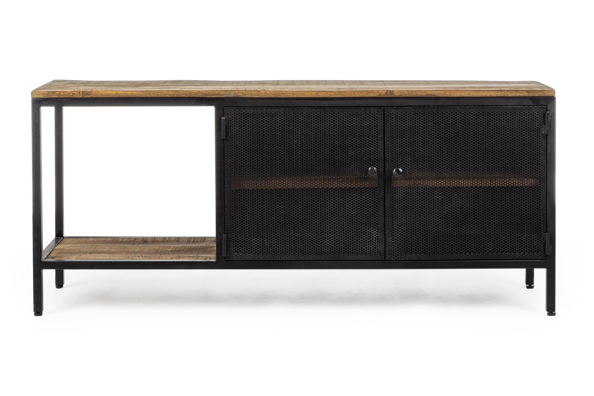 meuble tv industriel en bois et metal 2 portes 1 case hellin