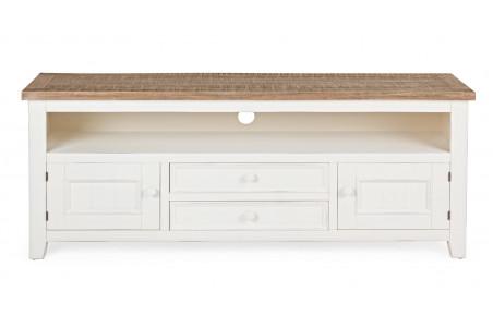 meuble tv 2 portes 2 tiroirs en bois elvira