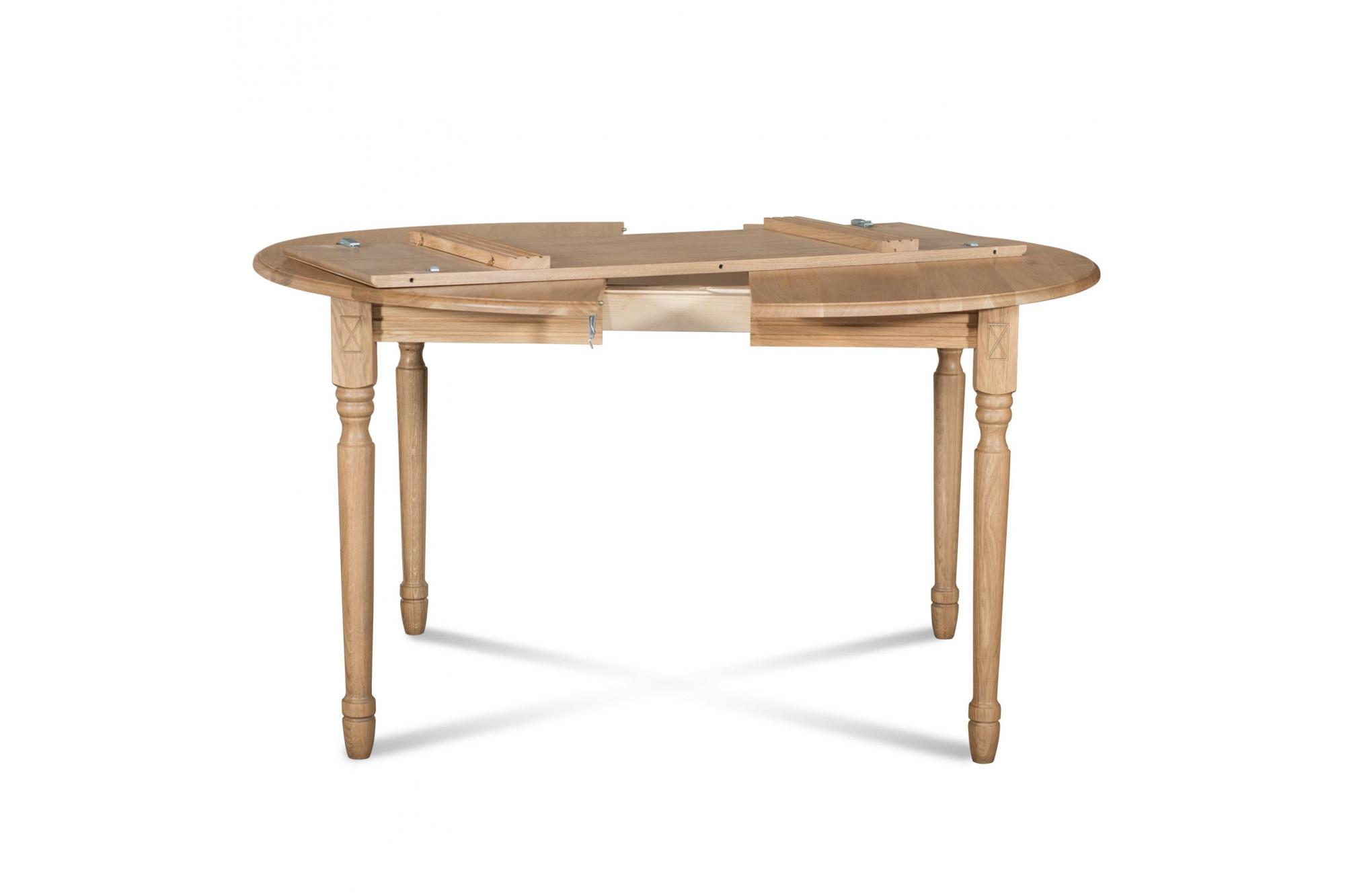 table extensible ronde bois a rallonges 115 cm pieds tournes victoria
