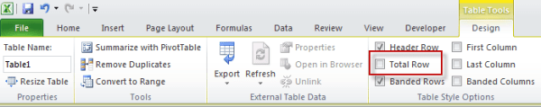 Using the Microsoft Excel Table Tools tab on the ribbon for writing reports for Microsoft Dynamics GP.