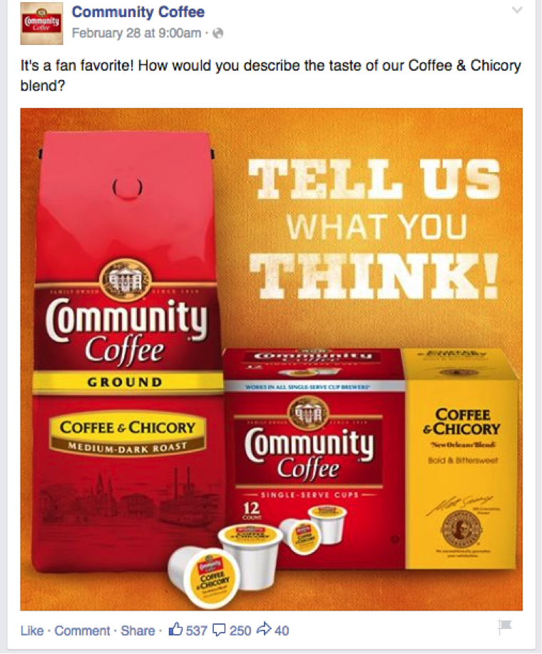 Example Facebook Post Community Coffee