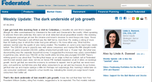 Federated Investments: The Dark Underside of Job Growth