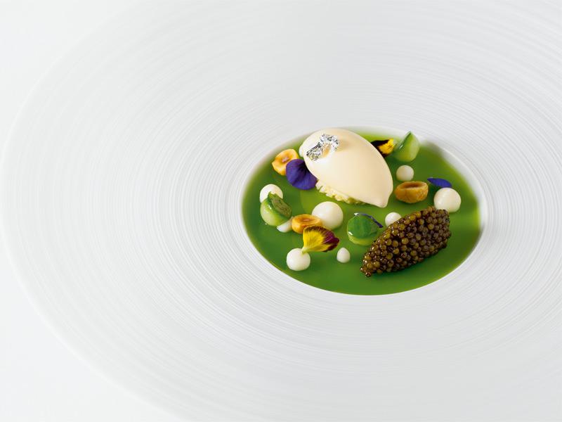 Cauliflower ice-cream served with cucumber jelly, Oscietra caviar, and hazelnuts: one of chef Hélène Darroze's artful creations.