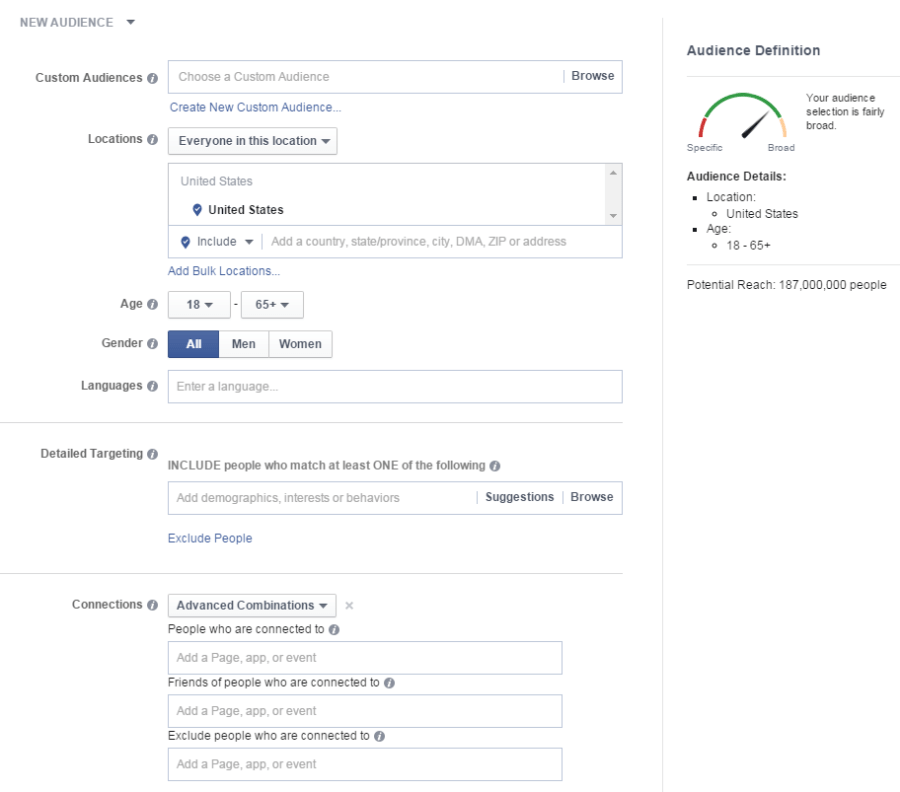 Facebook Advertising Audience Creator Estimates Your Target Audience Size