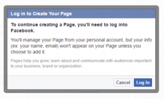 Facebook create a page prompt