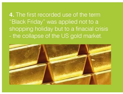 """The first recorded use of the term """"Black Friday"""" was applied not to a shopping holiday but to a financial crisis - the collapse of the US gold market."""