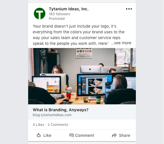 Image: screenshot of a LinkedIn ad.