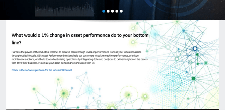 GE website using blue formatting to differentiate text from hyperlinks