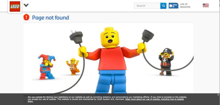 LEGO website with creative 404 error page