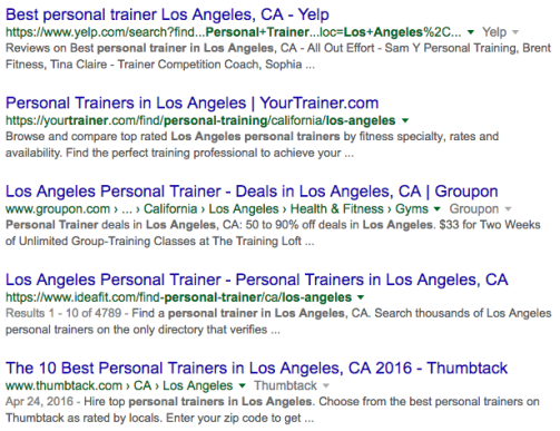 Google search personal trainer in los angeles