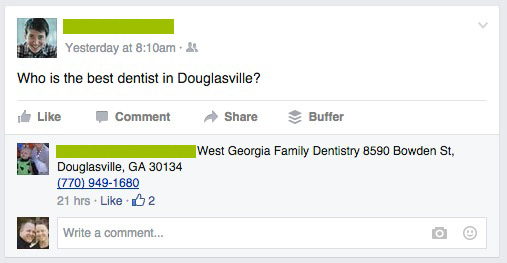 Facebook Local Business Recommendations
