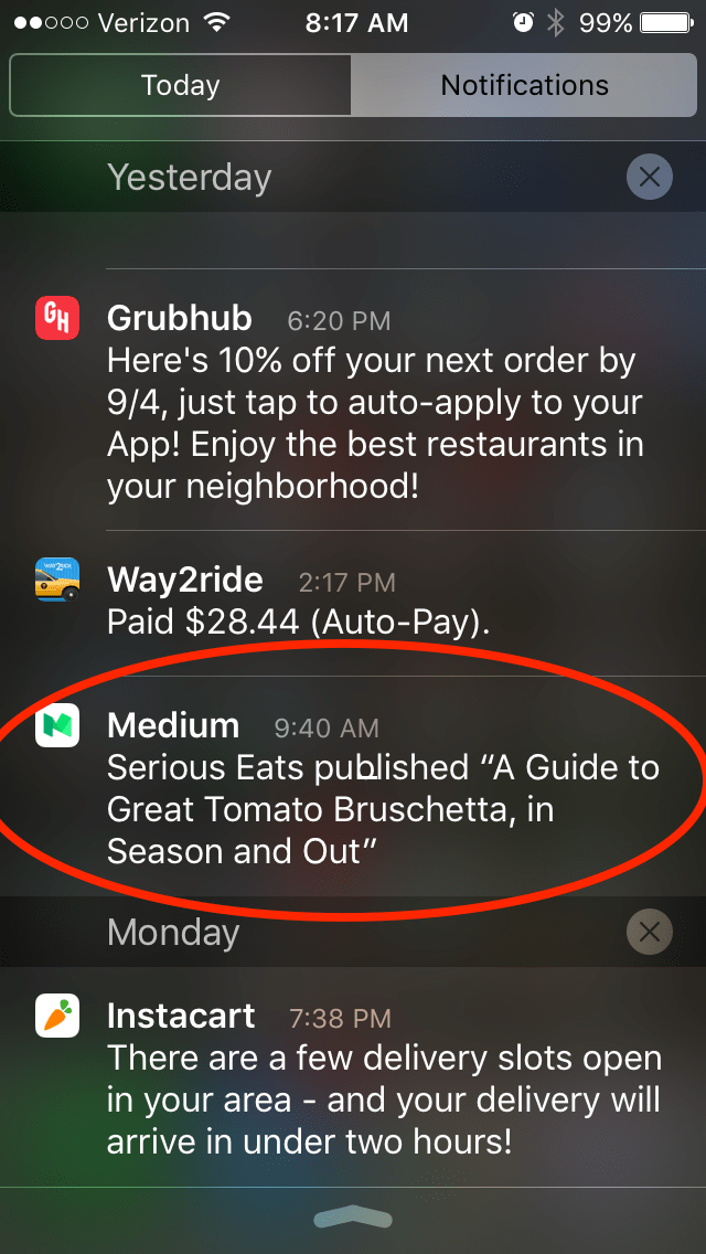 Medium Push Notification