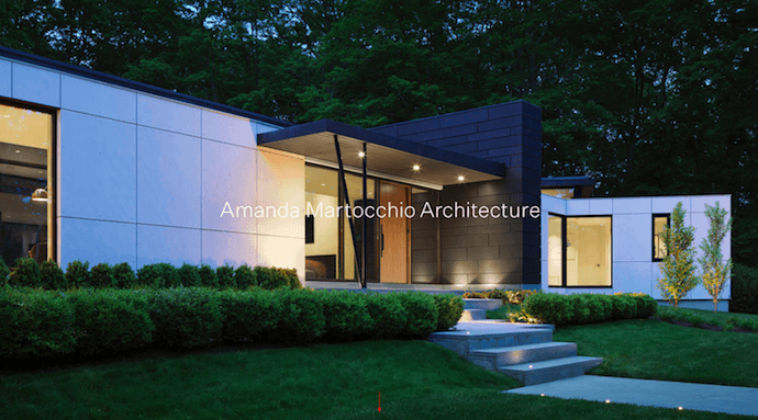Homepage of Amanda Martocchio Architecture, a company website with beautiful photography