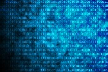 Shiny blue binary code on black background