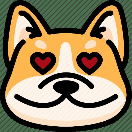 Download Corgi, emoji, emotion, expression, face, feeling, love icon