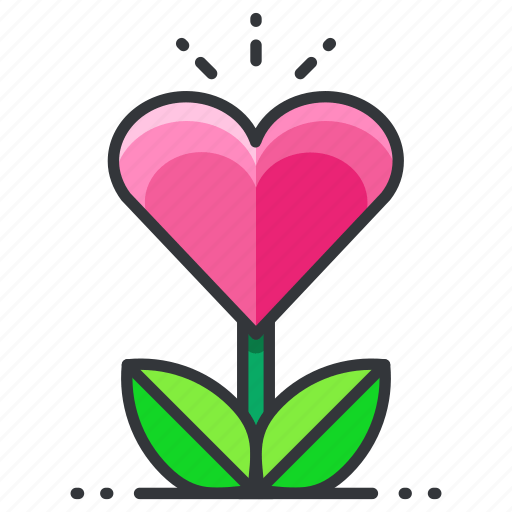 Download Grow, heart, love, plant, relationship icon