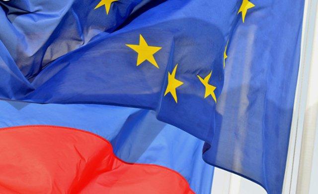 Флаги России и ЕС на набережной Ниццы