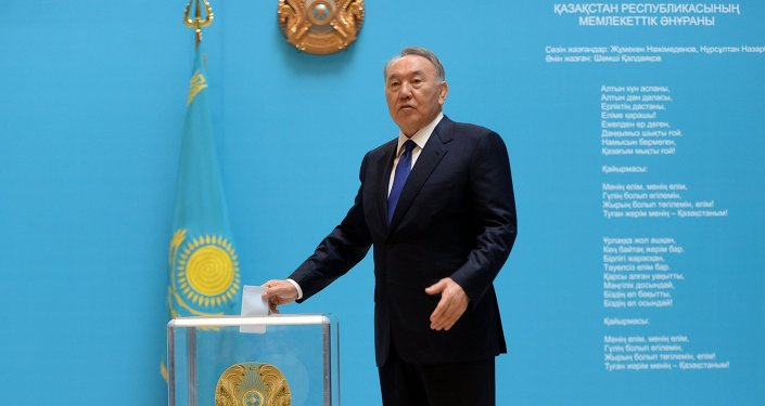 President of Kazakhstan Nursultan Nazarbayev votes at the early presidential elections