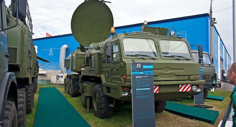 The Krasukha mobile, ground-based electronic warfare system.