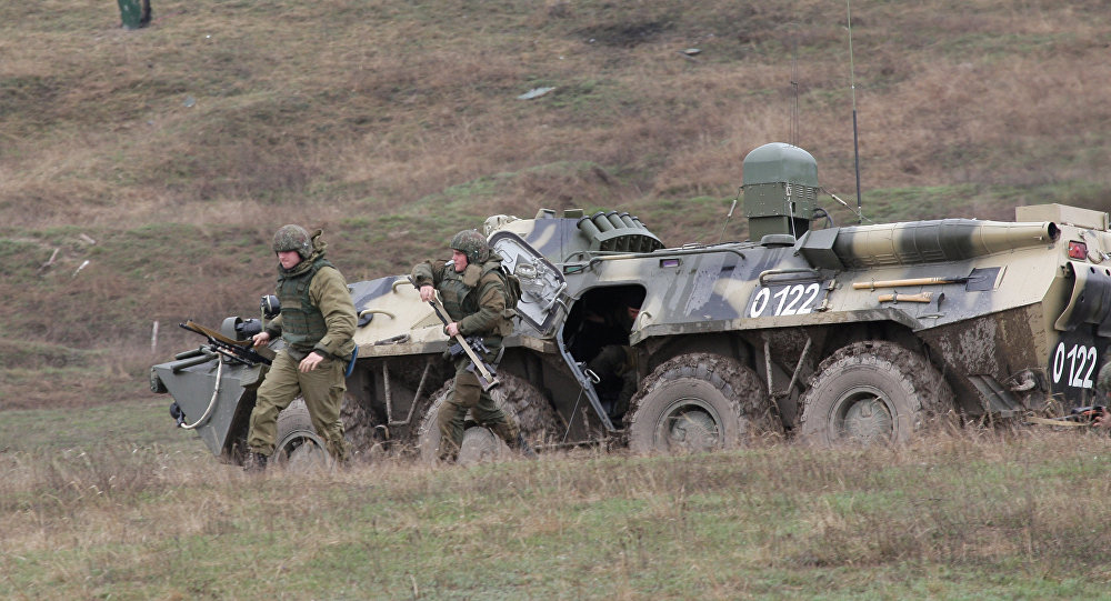 Russian Interior Ministry troops during a tactical exercise held in Simferopol District