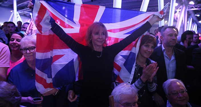 A Brexit supporter holds a Union Flag at a Vote Leave rally in London, Britain June 4, 2016.