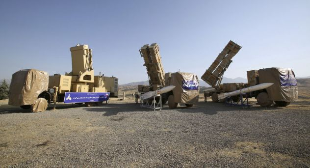 This photo released by the official website of the Iranian Defense Ministry on Sunday, June 9, 2019, shows the Khordad 15, a new surface-to-air missile battery at an undisclosed location in Iran