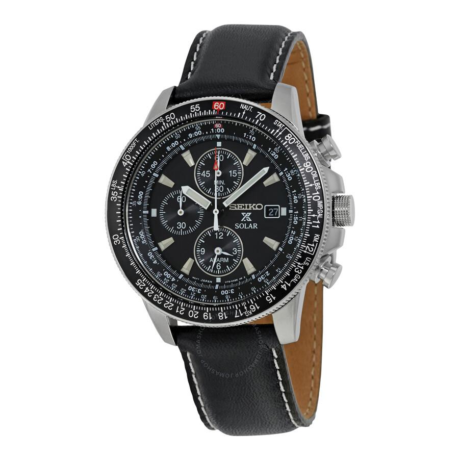 Seiko Flight Black Dial Chronograph Leather Strap Mens