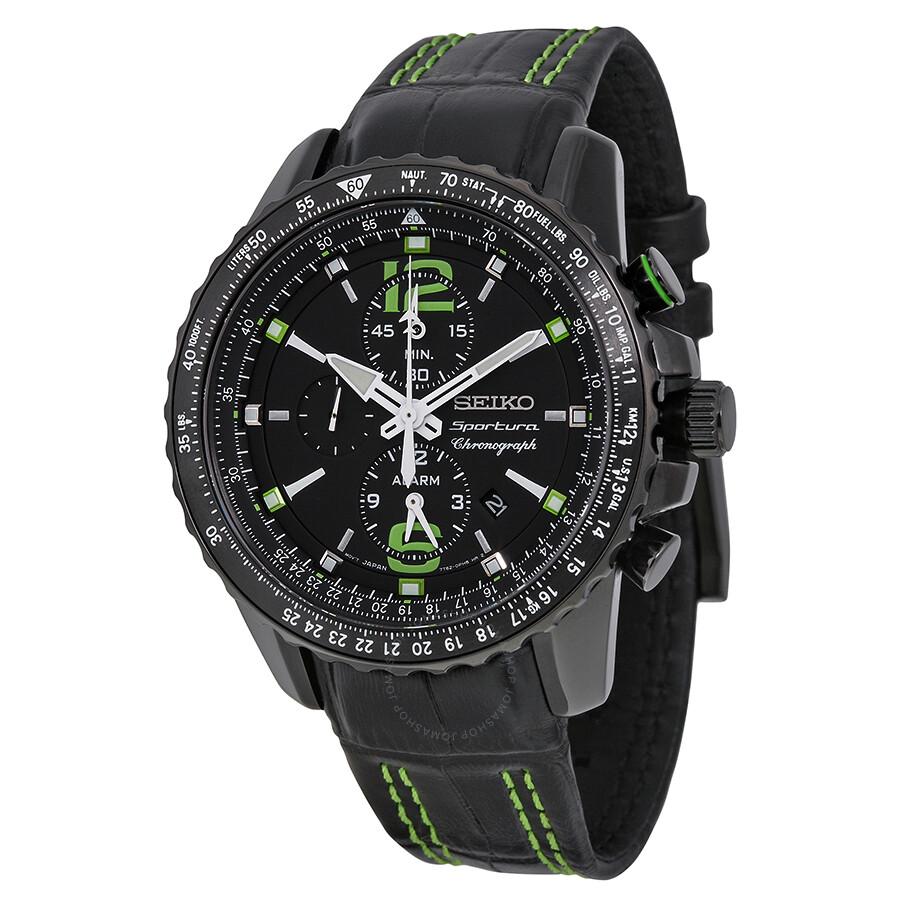 Seiko Sportura Chronograph Black Dial Black Mens Watch