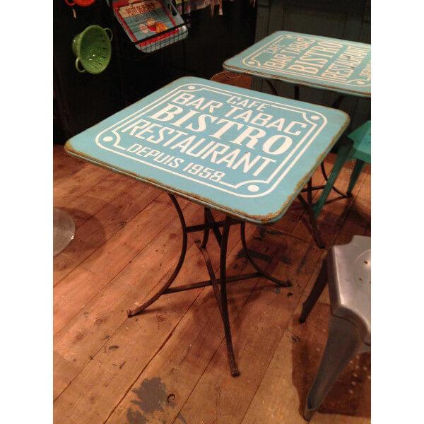 Table Bistro Bleue Style Vintage