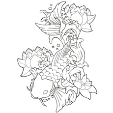 koi fish coloring pages # 2