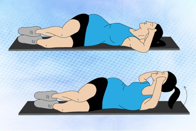 Side Lying Crunch Abdominal Exercise in Pregnancy