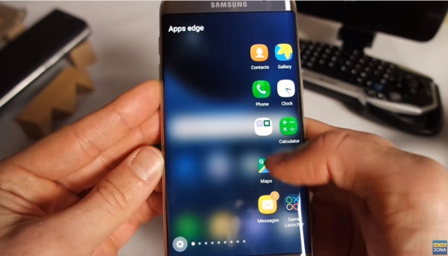 Samsung Galaxy S7 Plus en la mano menu edge