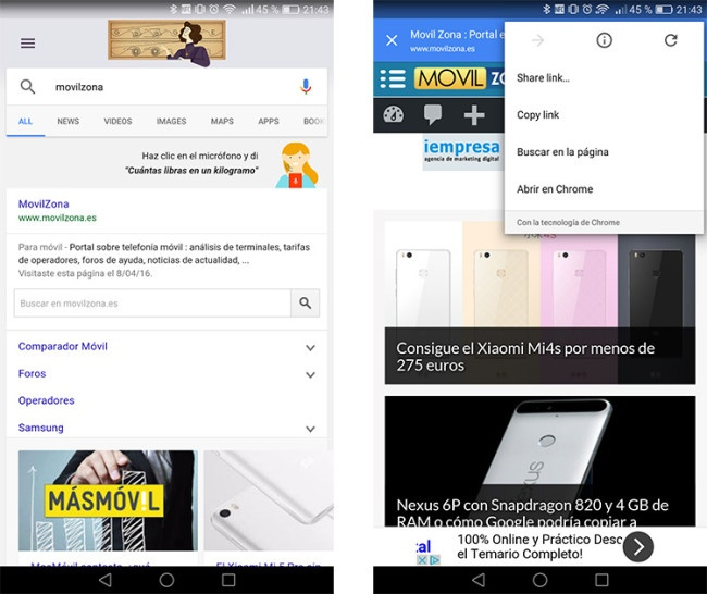 Pestaña de Chrome en la app de Google