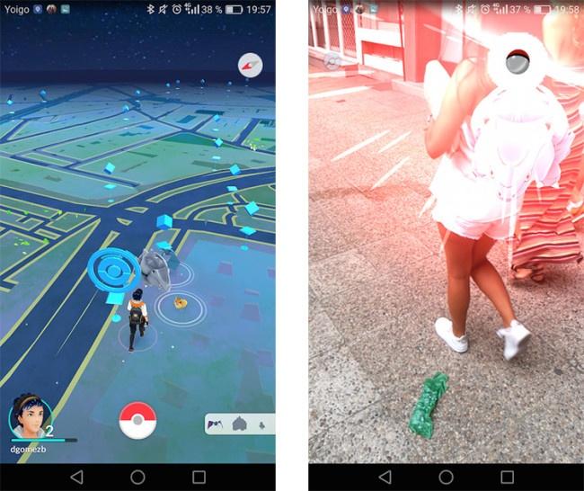 Interfaz de Pokémon Go con peligros al jugar a Pokémon Go