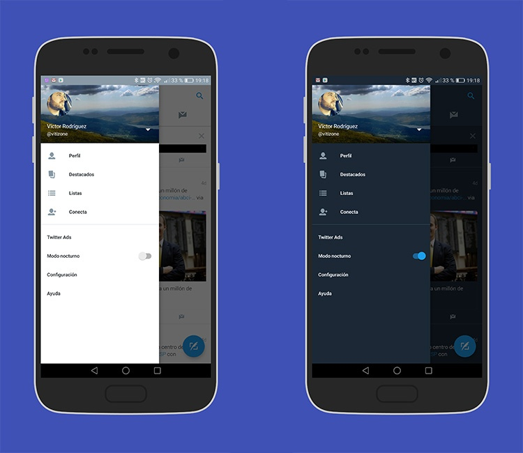 Modo nocturo en Twitter para Android