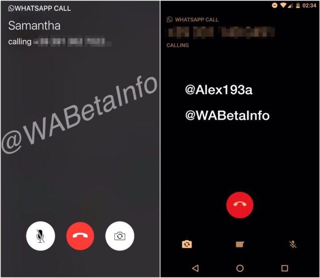 Interfaz de las videollamadas en WhatsApp Beta