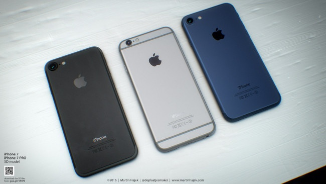 iPhone 7 negro, plateado y azul