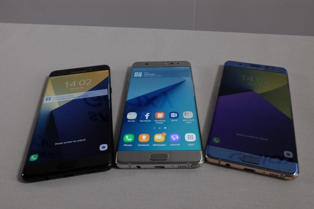 Samsung Galaxy Note 7 modeos plateado, azul y negro