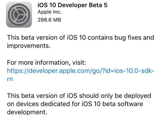 Actualización OTA con iOS 10 Beta 5
