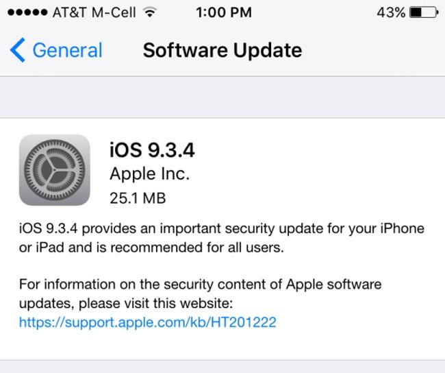 Actualización OTA con iOS 9.3.4