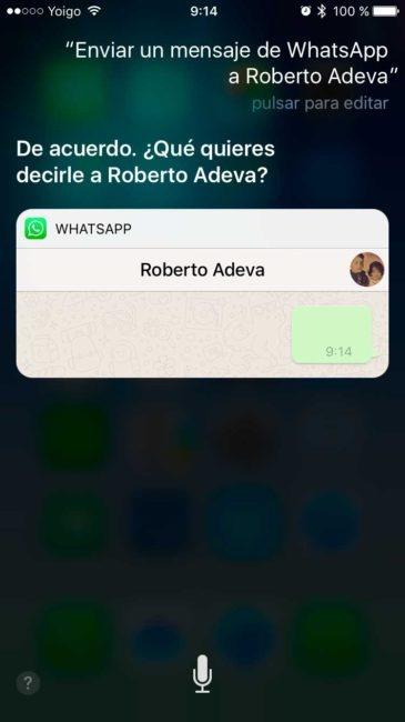 integración de Siri en WhatsApp