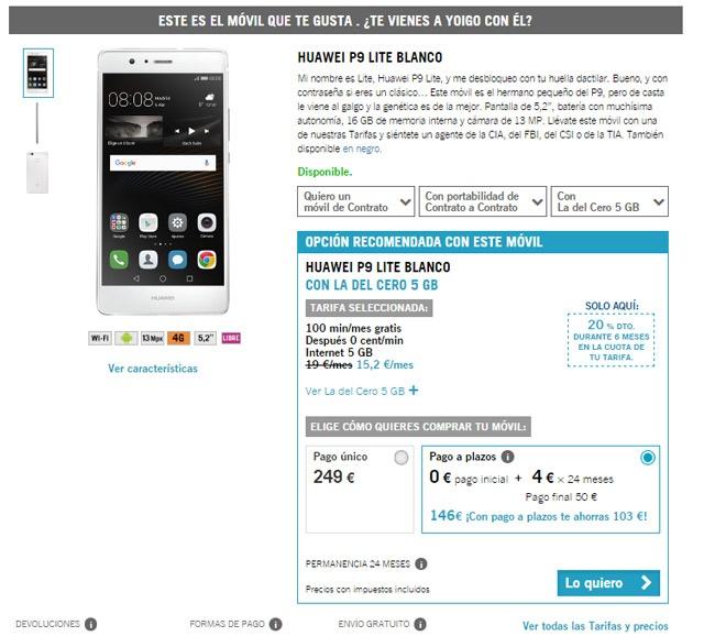 Precio del Huawei P9 Lite con Yoigo