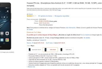 Precio del Huawei P9 Lite en Amazon