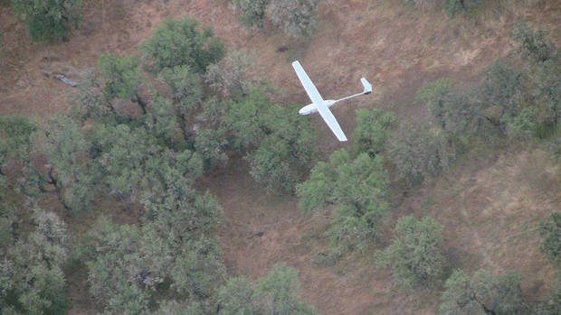 A Lockheed Martin Stalker XE drone flies over the countryside. For at least the next year, the U.S. Department of Homeland Security will be testing the possible use of drones in the civilian world from a facility near Fort Sill. <strong> - LOCKHEED MARTIN</strong>