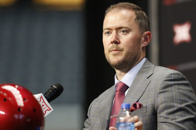 Photo - Oklahoma head coach Lincoln Riley speaks on the first day of Big 12 Conference NCAA college football media days Monday, July 15, 2019, at AT&T Stadium in Arlington, Texas. (AP Photo/David Kent)