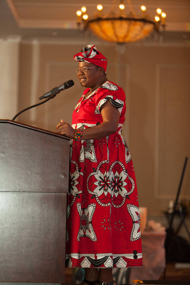 Jenipher Kosome, one of the first female village chiefs in Kenya, speaks at the 2017 Light the Future Gala, a Maisha Project fundraiser in downtown Oklahoma City. [Photo provided]