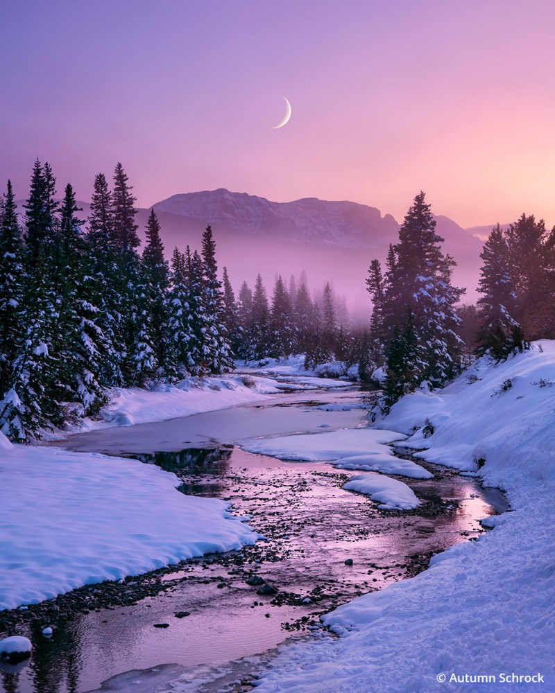 Photograph of the moon at Glacier National Park.