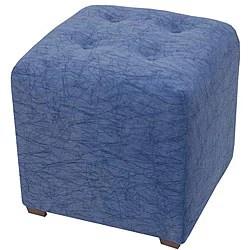 Blue chenille ottoman